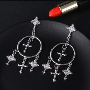 CROSS EARRINGS GOTHIC Punk Drop Silver Earrings